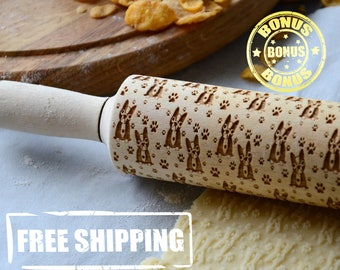 Doggie Animals Dog Rolling Pin For Cake With Engraved Pattern 4 Size Wooden Pin Engraveed pattern Rplling pin Handmade gift for mother
