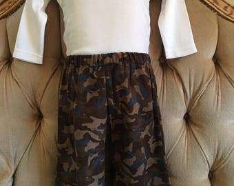 Brown and blue Corduroy Cargo pants with elastic waist