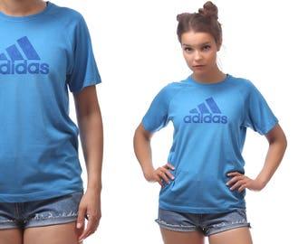 Adidas Shirt 90s Blue Sport T Shirt Spell Out Logo Tee Outside Activities 3 Stripe Logo Men Women Unisex Raglan Sleeves Shirt Vintage Medium