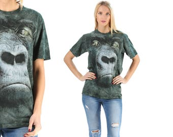 Gorilla Print T Shirt 90s Animal Print  Shirt Green Gray Graphic Sweater Slouch Shirt 1990s Vintage Hipster Large