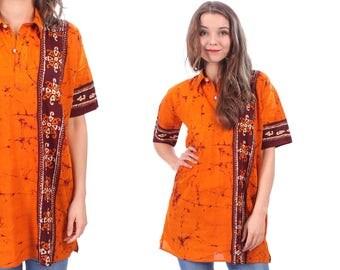 Vintage 70s HIPPIE Shirt . Ethnic Hippie Shirt Tunic Boho 1970s Folk Bohemian Festival Pastel Orange Cream White Bordeaux . Medium Large