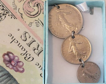 3 x MARIANNE  FRANCE  coins in a teardrop on a 22 in. fine silver chain