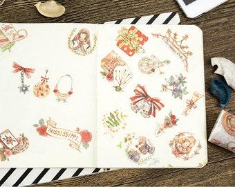 Vintage Style Girls Washi Tape Set - Goth, Lolita, Rococo, Baroque, Planner, Journal, Craft, Scrapbooking, Decoration