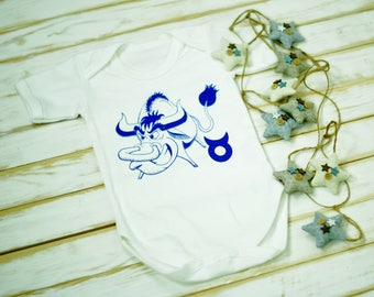 Organic Cotton bodysuit. Screenprint bodysuit. White organic bodysuit. Baby organic clothes. Infant bodysuit. Taurus zodiac baby bodysuit.