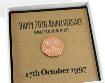 Personalised Happy 20th Anniversary Keepsake Gift, Lucky Penny Gift