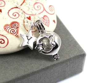 Sterling Silver Love you to the Moon and Star Locket and Initial Charm Cremation Fillable Glass Orb Locket Necklace. Memorial Jewellery.
