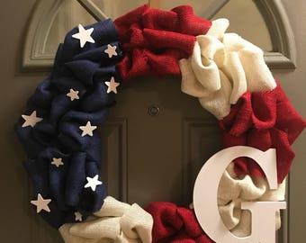 Custom Americana - Custom American Flag Burlap Wreath, Custom Memorial Day Wreath, Custom Fourth of July Wreath, Custom Red White and Blue