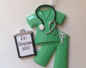 33% Off Personalized Green  Scrubs Christmas Ornament - Nurse, RN, Lab Technician, Medical School Graduate- Drs. Office - Gift