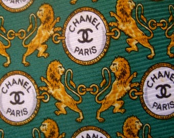 CHANEL Italian Mens Silk Lion Theme Necktie