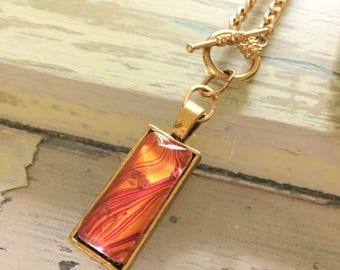 Custom hand painted modern marbling pendant necklace