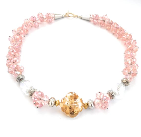 Gilded Crystal Cluster Choker Necklace