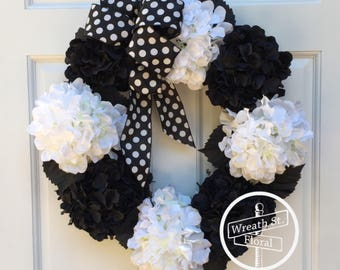 Hydrangea Wreath, Black White Wreath, Front Door Wreath, Grapevine Wreath, Wreath Street Flroal, Everyday Wreath, All Season Wreath