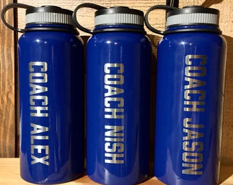 Powder Coated HOGG 32 oz. Bottle - Customized Stainless Steel Bottle - Laser Engraved Water Bottle - Custom Gifts