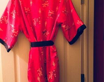 Vintage Chinese Black and Red Reversible Silk Brocade Robe with Embroidered Dragon
