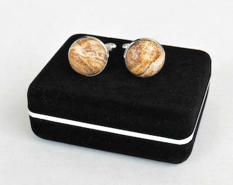PICTURE JASPER Cuff-Links - Gemstone Cuff Links - 16mm - 1 Pair