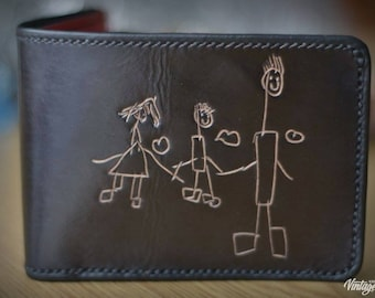 Mens black and red leather wallet with hand engraved childrens scribbles, coin compartment inside, birthday present for fresh dad