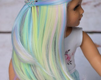 "Custom Doll Wig for 18"" American Girl Dolls, Gotz, Journey Girls - Heat Safe - Tangle Resistant - Cap size 10-11"" Rainbow"
