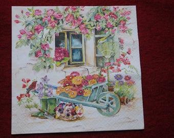 "paper flower ""in the garden"" theme towel"