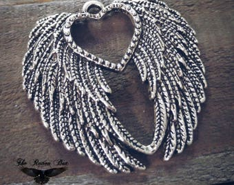 "Large Angel Wings Pendant Heart Angel Wing Pendants Ornate Wings Pendants 45mm 1.77"" BULK Charms 50 pieces"