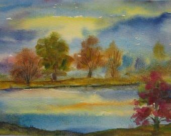 Original watercolor painting, Landscape painting,watercolor landscape,watercolor autumn,handmade,house gift.