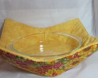 15 Inch (large) Microwave Bowl Cozy/Holder. Beautiful Yellow/Orange Florals and Yellow on Yellow Floral Print. Hostess or Housewarming Gift