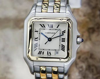 Cartier Panthere 18K Yellow Gold Stainless St Quartz Unisex Luxury Watch FR103