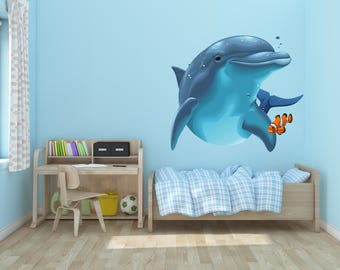 Dolphin and Fish Vinyl Wall Decal