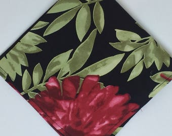 Mens Black and Red Floral pocket square wedding gift for men groomsmen