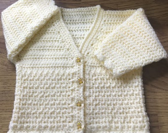 PDF DK Crochet Pattern For Baby/Child V Neck Cardigan. Sizes Birth to 6 years (1016)