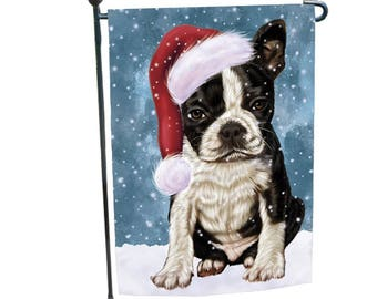 Marvelous Let It Snow Christmas Holiday Boston Terriers Dog Wearing Santa Hat Garden  Flag 12 1/