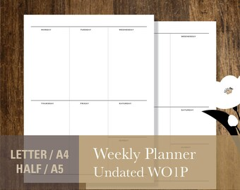 Undated Weekly Planner, PRINTABLE Weekly Planner Inserts, Letter A4 Half-Letter A5 Week on One Pages WO1P Calendar Template (#030)