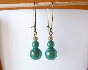 Earrings pearls magical sea green and beige