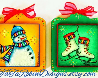 342-E Snow Days-Instant Download- Decorative Painting Pattern Packet-Christmas Ornaments-Snowman-Ice Skates- FestiveColors-LaserCut Wood-DIY