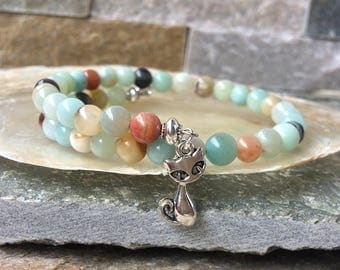 Memory wire bracelet in Amazonite cat cats