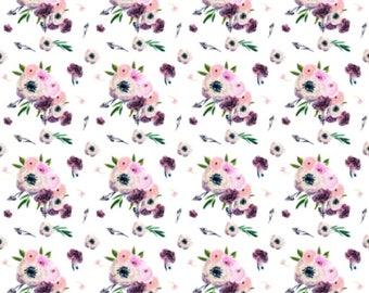 Floral Baby or Toddler Blanket - Floral Minky Blanket - Baby Girl Crib Bedding - Floral Toddler Bedding - Minky Toddler Blanket - Purple
