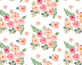 Floral Baby or Toddler Blanket - Floral Minky Blanket - Baby Girl Crib Bedding - Toddler Bedding - Minky Toddler Blanket - Pink Blanket