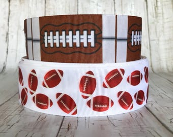 "1 1/2"" Football Sports Team College Ball Back to School Girls Grosgrain Hairbow Cheer Ribbon -  Sold by 5 Yards"