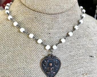 White Buddha Heart Necklace
