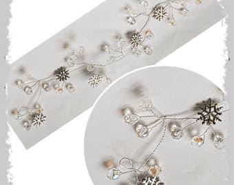 Snowflake hair vine/ winter wedding hair piece / crystal hair vine / long hair vine / frozen hair accessories / bridal hair vine / prom hair