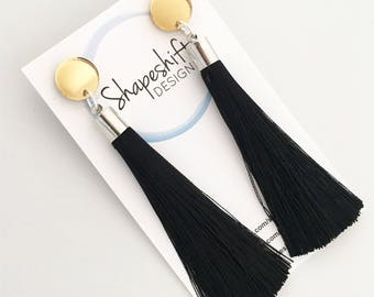 Gold Mirror Acrylic Earrings With Black Tassels