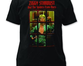 David Bowie Ziggy Phonebooth Traditional Fit 18/1 Cotton Tee (DB15) Black