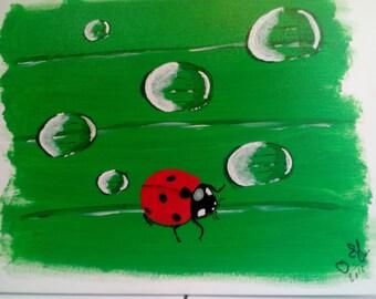 Ladybug on leaf acrylic paint