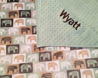 Personalized elephant minky blanket,  personalized baby blanket, Baby Gift, Nursery Blanket, Toddler Bedding, Nursery Blanket, Crib Bedding