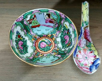 Vintage Rose Medallion rice bowl made in China