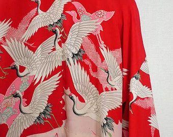 second hand juban, garment worn under kimono, Japanese vintage juban for women, silk, red, crane