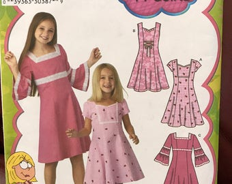 "Uncut Simplicity pattern for girls ""Lizzie McGuire"" princess style dress with 3 views"