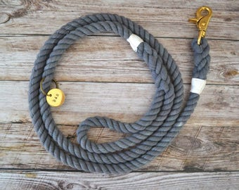 Rope Leash - Grey // Dog Leash // Dog Lead // Rope Dog Leash // Whipped & Spliced // Cotton Rope // Hand Dyed // Brass // Stainless Steel //