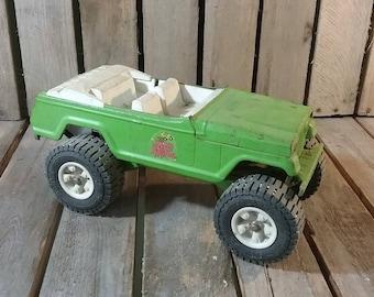 Vintage Tonka Toy Green Metal Stump Jumper Jeep, Vintage Tonka Toy Truck, Vintage Metal Trucks, Vintage Toy Jeeps, Old Toy Trucks, Tonka