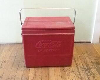 Vintage Coke Cooler, Vintage Coca Cola Cooler, Red Metal Cooler, Metal Ice Box, Coke Ice Chest, Red Metal Ice Box, Vintage Ice Chest,