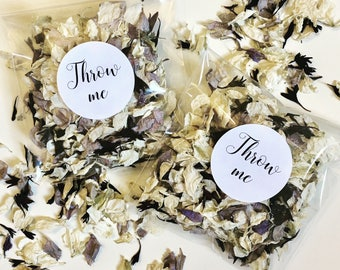 Biodegradable  confetti - pale grey & black with off white flower petals - calligraphy 'throw me' black label - vintage wedding decoration